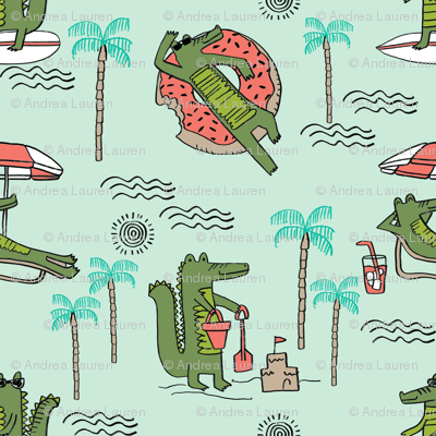 alligator vacation // tropical beach gator cute animal fabric character mint