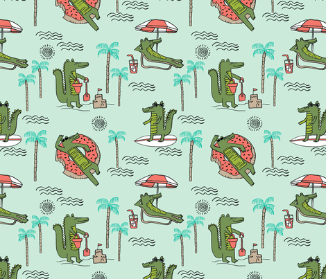alligator vacation // tropical beach gator cute animal fabric character mint fabric by andrea_lauren on Spoonflower - custom fabric