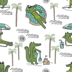alligator vacation // tropical beach gator cute animal fabric character white