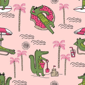 alligator vacation // tropical beach gator cute animal fabric character medium pink
