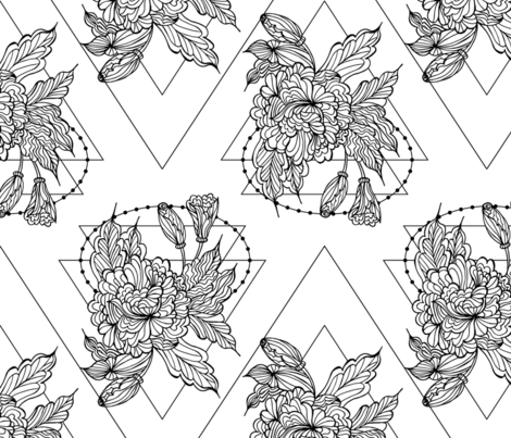 Geometric peonies fabric by argunika on Spoonflower - custom fabric