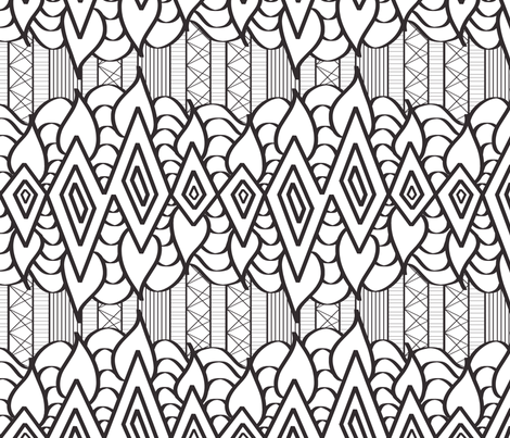 The Rain in Africa Charcoal outline on White fabric by house_of_heasman on Spoonflower - custom fabric