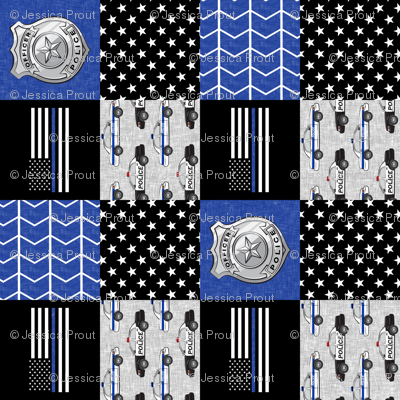 """(3"""" small scale) police patchwork fabric - thin blue line - blue chevron (90)"""