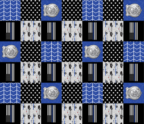 """(3"""" small scale) police patchwork fabric - thin blue line - blue chevron (90) fabric by littlearrowdesign on Spoonflower - custom fabric"""