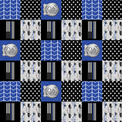 "(3"" small scale) police patchwork fabric - thin blue line - blue chevron (90)"