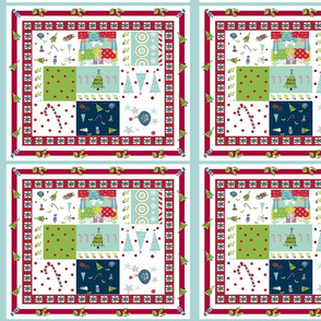 Christmas Quilt 108 - snowflake holly border