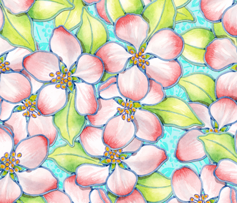 Apple Blossoms on aqua fabric by patriciasheadesigns on Spoonflower - custom fabric