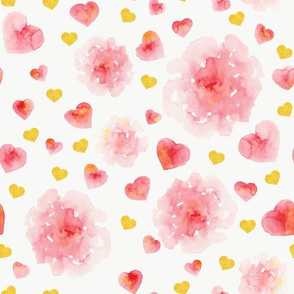Watercolor hearts and flowers
