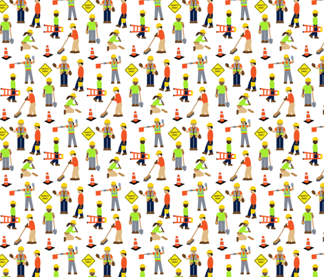 Construction Workers White fabric by kaldreacollections on Spoonflower - custom fabric
