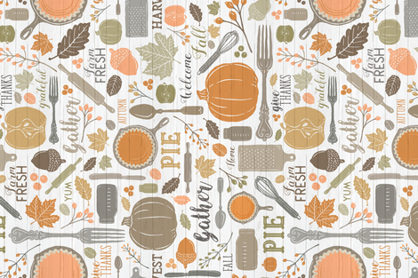 Sing for Your Supper THANKSGIVING // Gather Round & Give Thanks - A Fall Festival of Food, Fun, Family, Friends, and PIE! (RR for Fat Quarter Tea Towels) fabric by zirkus_design on Spoonflower - custom fabric