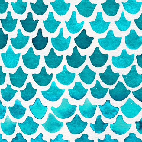 Turquoise Watercolor Abstract Geometric Shapes // Mermaid, Fish, Dragon Scales fabric by zirkus_design on Spoonflower - custom fabric
