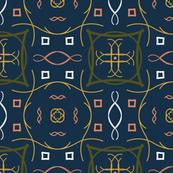 Blue Olive Coral Modern Boho Tiles