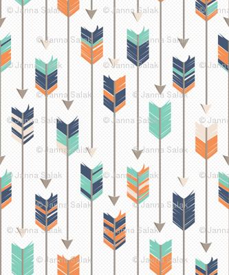 Tribal Arrows Pattern Orange Green Blue