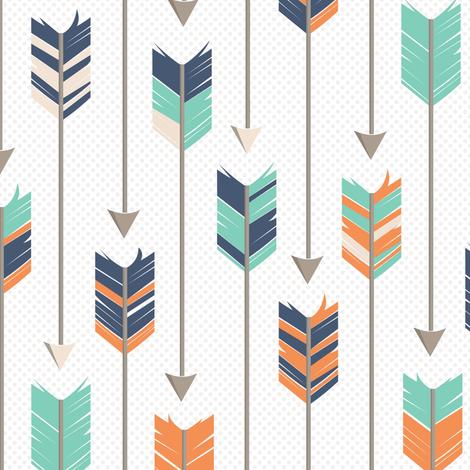 Tribal Arrows Pattern Orange Green Blue fabric by jannasalak on Spoonflower - custom fabric
