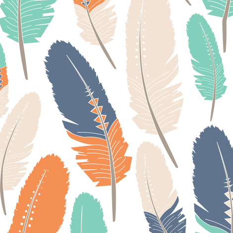 Tribal Feathers Pattern Orange Blue Green fabric by jannasalak on Spoonflower - custom fabric