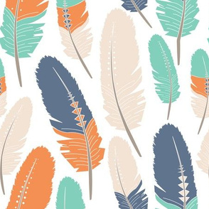 Tribal Feathers Pattern Orange Blue Green