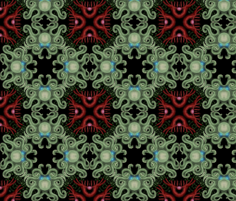 Deep Sea Octopus with Red Jellyfish fabric by reefbiologist on Spoonflower - custom fabric