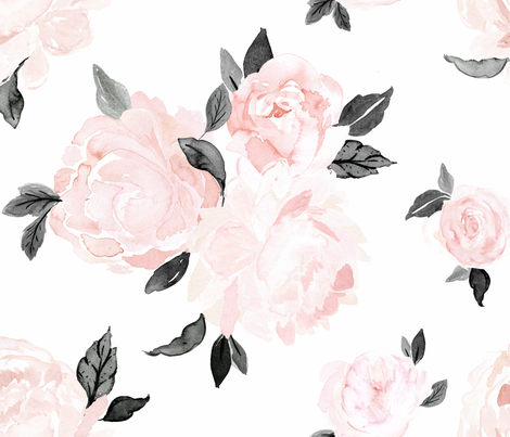 vintage blush floral-bw fabric by crystal_walen on Spoonflower - custom fabric