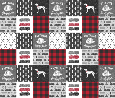 future firefighter patchwork fabric - plaid - dark grey and red fabric by littlearrowdesign on Spoonflower - custom fabric