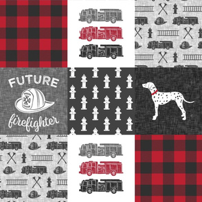 future firefighter patchwork fabric - plaid - dark grey and red