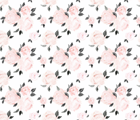 vintage blush floral S - bw fabric by crystal_walen on Spoonflower - custom fabric
