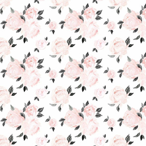 vintage blush floral S - bw