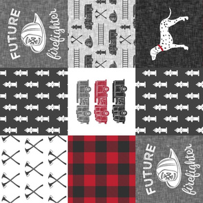 future firefighter patchwork fabric - plaid - dark grey and red (90)