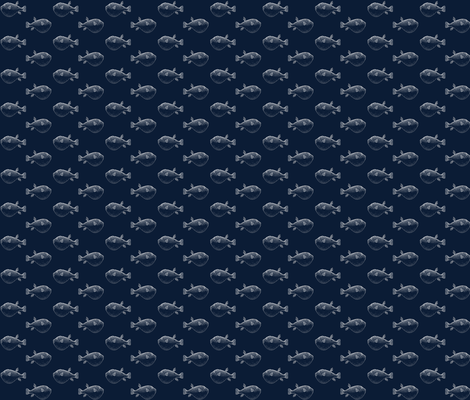 Puffer fish pufferfish silver on navy blow fish blowfish fabric by jenlats on Spoonflower - custom fabric