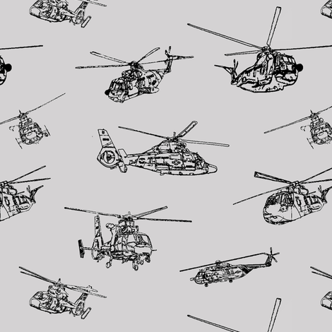 Choppers on Grey // Small fabric by thinlinetextiles on Spoonflower - custom fabric