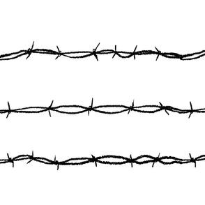 barbwire horizontal white