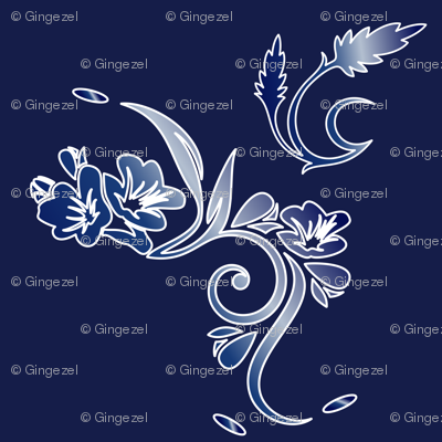 Large Scale Navy and White Floral