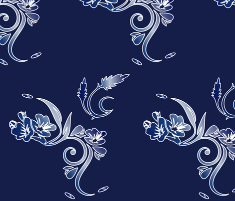 Large Scale Navy and White Floral fabric by gingezel on Spoonflower - custom fabric