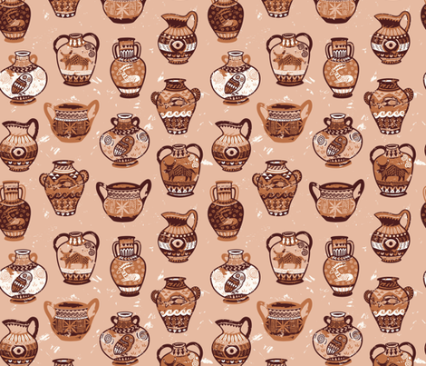 Greek amphorae fabric by penguinhouse on Spoonflower - custom fabric