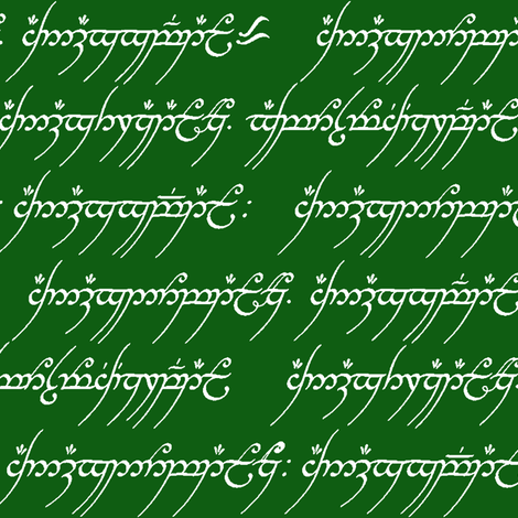 Elvish on Green // Small fabric by thinlinetextiles on Spoonflower - custom fabric