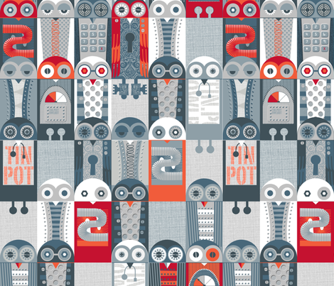 Tin Pot Owl-Bot large scale fabric by spellstone on Spoonflower - custom fabric