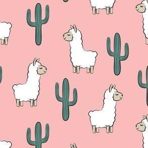 llama w/ cactus on pink