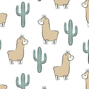 llama w/ cactus on white