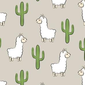 llama w/ cactus - beige