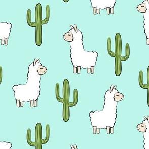 llama w/ cactus - light teal