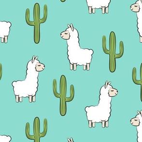 llama w/ cactus - teal