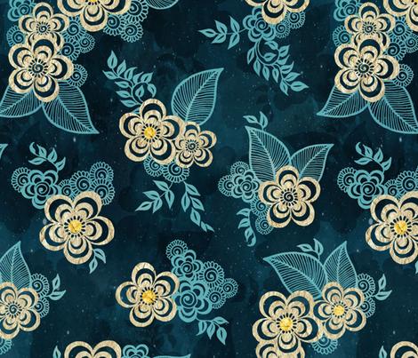 Henna Tattoo Flowers fabric by adenaj on Spoonflower - custom fabric
