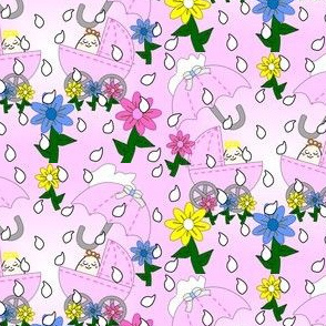 Babies Splashing In The Rain Umbrella, Flowers, Rain Drops and Carriages Fabric New