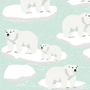 polar bear animal arctic iceberg bears kids fabrics mint