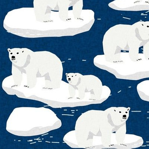 polar bear animal arctic iceberg bears kids fabrics navy