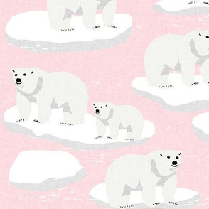 polar bear animal arctic iceberg bears kids fabrics pink