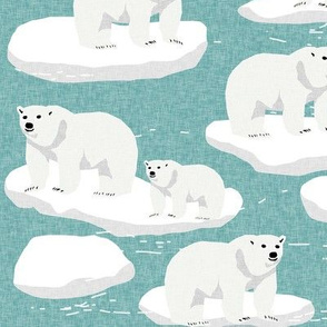 polar bear animal arctic iceberg bears kids fabrics turquoise