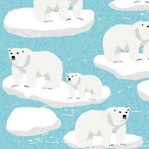 polar bear animal arctic iceberg bears kids fabrics blue
