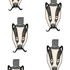 badger man // cute badgers character kids mustache top hat fabric white