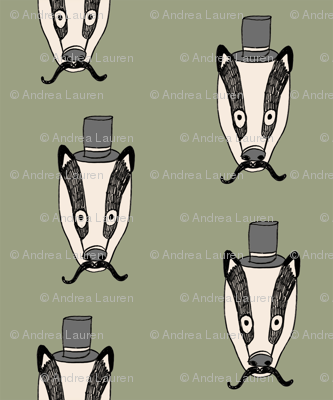 badger man // cute badgers character kids mustache top hat fabric army green