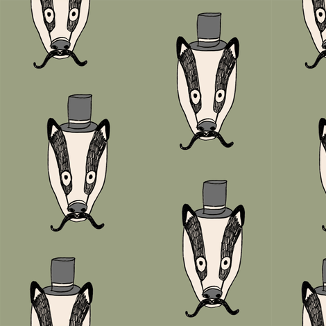 badger man // cute badgers character kids mustache top hat fabric army green fabric by andrea_lauren on Spoonflower - custom fabric